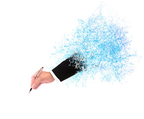 file of hand of business man writing through splashing water wit