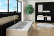 Modern design bathroom interior with stylisch bathtub