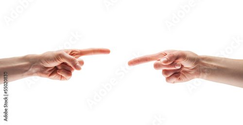 Fingers point to each other