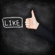 Like - likes thumbs up on chalkboard