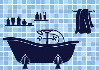 Blue bathroom interior with bath