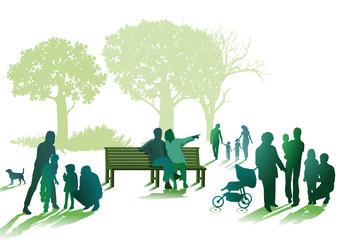 Familien und Senioren im Park