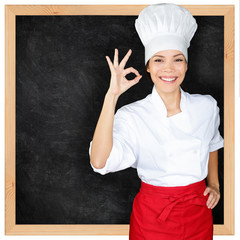 Chef showing menu blackboard and Perfect hand sign