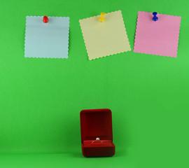 wedding rings in red case