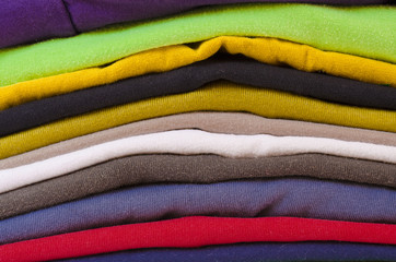 close up of stack of folded clothes