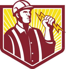 Electrician Holding Lightning Bolt Retro