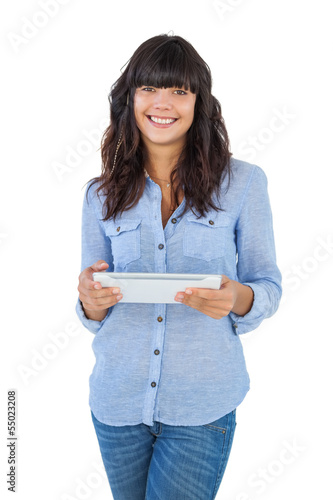 Cute woman holding tablet pc