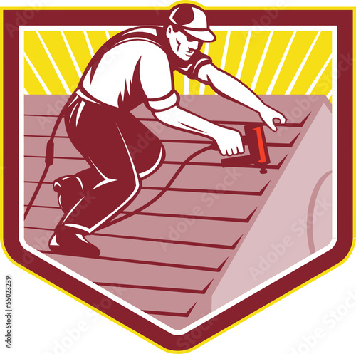 Roofer Roofing Worker Retro