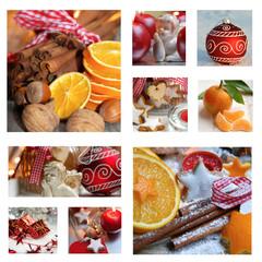 Collage Orangen und Zimtstangen