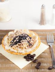 vanilla spaghetti ice cream with dishes sugar chocolate cacao
