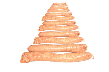 Raw BBQ sausages isolated on a white background