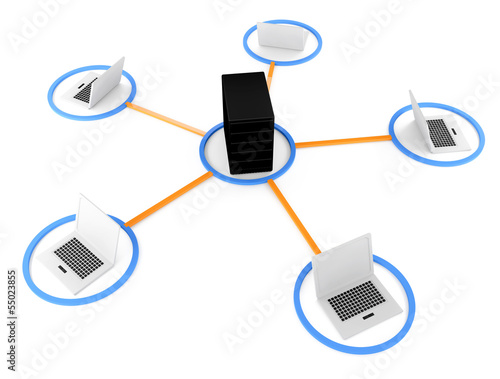 laptop with server NetWork. 3D Image