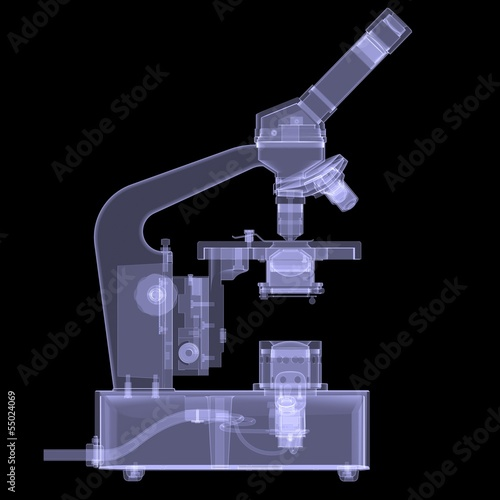 Microscope. X-ray render