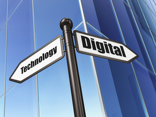 Information concept: Digital Technology on Building background