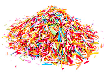 Colorful Sweet  Sugar candy sprinkles isolated on white backgrou
