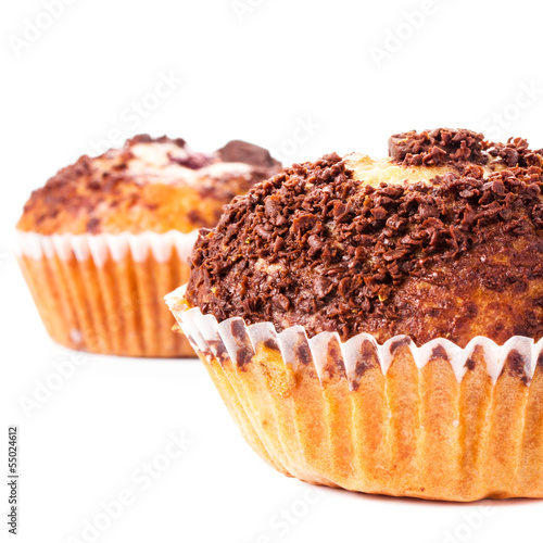 Muffin with chocolate sprinkles isolated on white background, ma