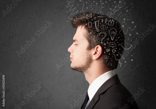 Young man thinking with abstract lines and symbols