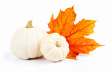white pumpkins with red leaf, isolated on the white background