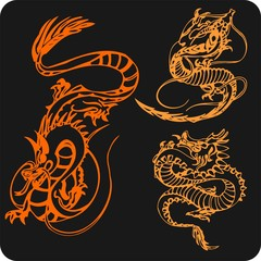 Chinese Dragons - vector vinyl-ready illustration.