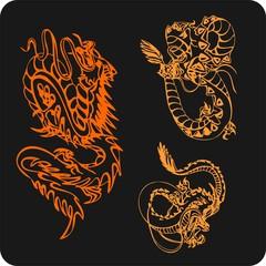 Chinese Dragons - vector vinyl-ready illustration.