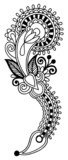 black line art ornate flower design, ukrainian ethnic style, aut