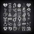 36 hand drawing doodle icon set, wedding sketchy illustration on