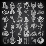 sketch doodle icon collection, picnic, travel and camping theme