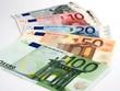 Euro banknotes isolated on white background