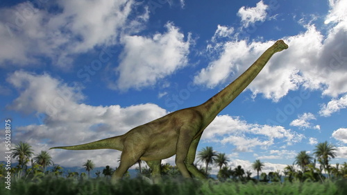 Brachiosaurus walking, seamless loop