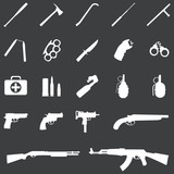 Vector set of 21 white weapon icons