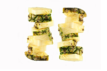 Focus Pineapple slice of Arranged vertical.