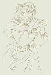 Vector illustration. Boy playing the flute