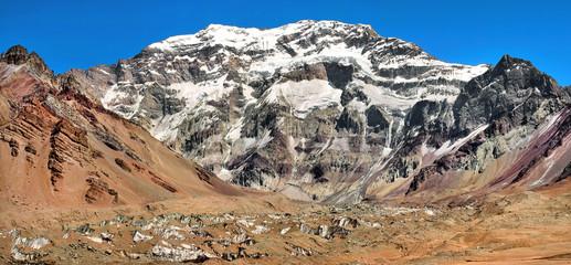Aconcagua mountain panorama in Argentina, South America
