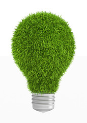 Green grass light bulb