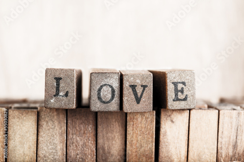 "Wood cube make word, ""love"""