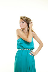 Young cute smiling woman with fashion dress on white background