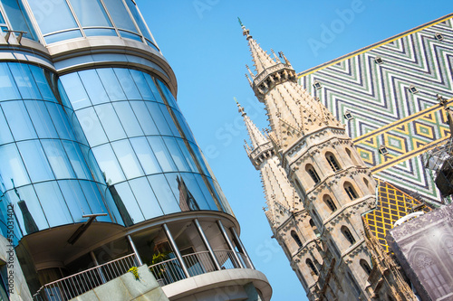 Haas Haus with St. Stephen's Cathedral, Vienna, Austria