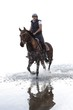 Horseback riding in the river