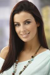 Closeup portrait of beautiful young woman smiling