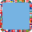 blue rounded square frame made of flag icons