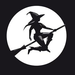 Hexe auf Besen mit Mond
