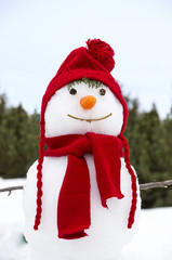snowman with a red hat