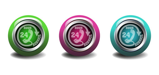 Twenty four hour service buttons