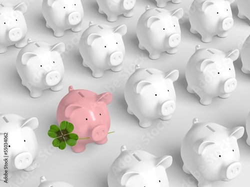 canvas print picture Piggy bank - grid with pink pig with clover
