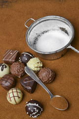 pralines and chocolate background