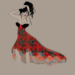 Beautiful poppy dress / Fashion sketch of summer outfit