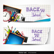 Set of two horizontal banners with school supplies