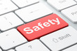Security concept: Safety on computer keyboard background