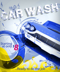 car wash service vector illustration poster