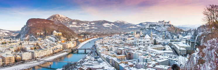 Salzburg panorama with river Salzach in winter, Austria